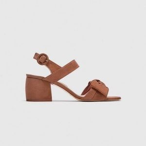 Zara Blush High Heeled Leather Sandals